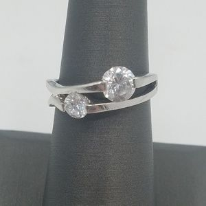 Jewelry - Sterling Silver Ring with Two Simulated Diamonds